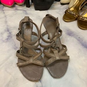 DIOR grey canage stitch strappy heels eu35